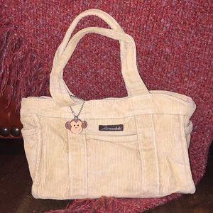 EUC Aeropostale tan corduroy handbag monkey charm